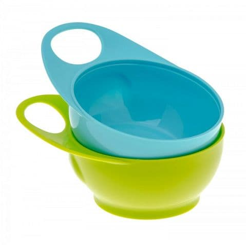 Brother Max - Twin Pack Easy Hold Weaning Bowls - Blue & Green
